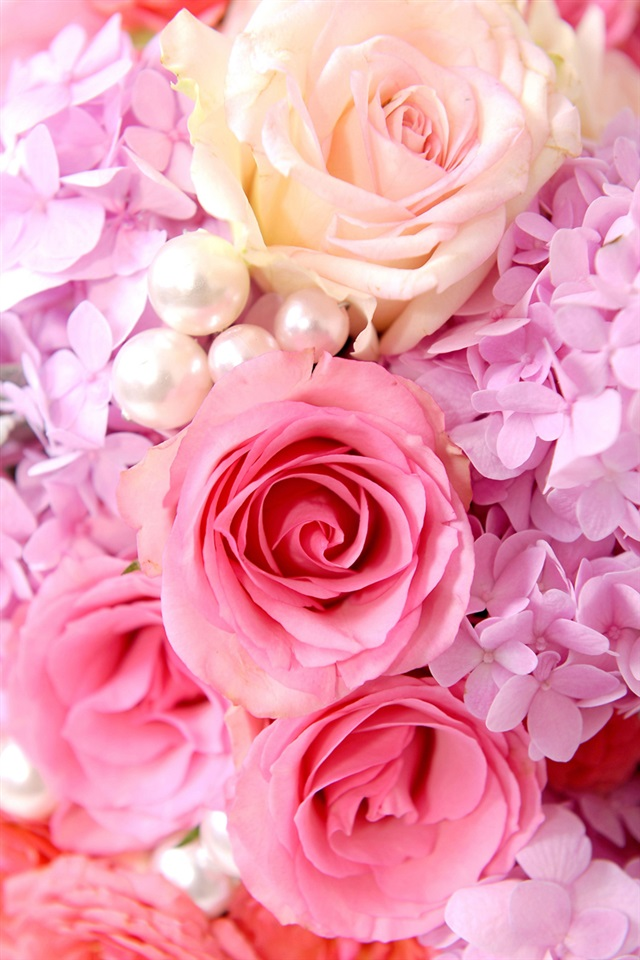 Pink Roses And Babys Breath Bouquet