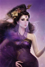 Purple fantasy girl oriental velo iPhone fondos de pantalla