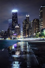 Chicago, Illinois, EE.UU., rascacielos, las casas, las luces iPhone fondos de pantalla
